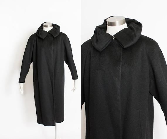 1950s Swing Coat Black Wool Gathered Collar Medium