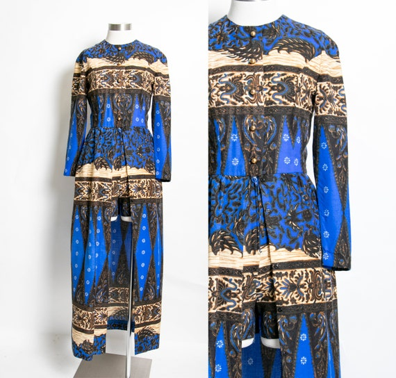 Vintage 1970s Dress Shorts Romper Printed Maxi S