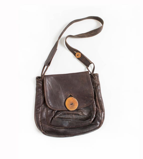 1970s Boho Purse Brown Leather Artisan Bag