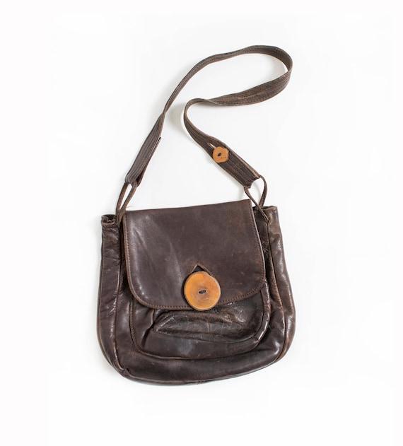 Vintage Boho Purse 1970s Brown Leather Artisan Bag