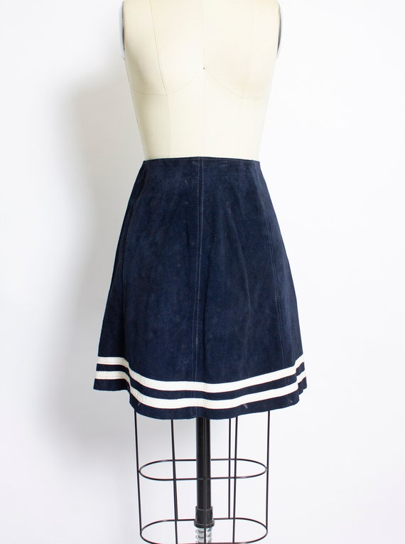 Vintage 1960s Skirt Blue Suede Striped Leather Mod