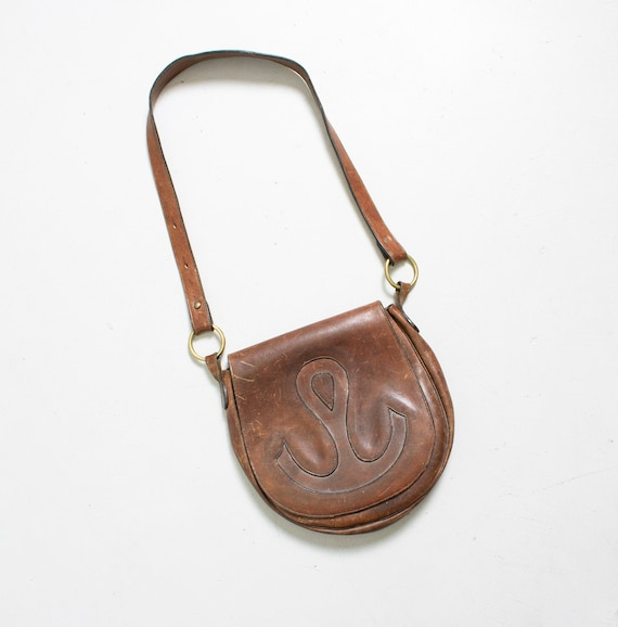 Boho Purse 1970s Brown Leather Anchor Artisan Bag
