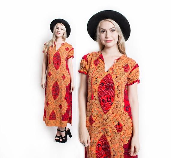 1970s Dress Ethnic Cotton Red Ethnic Boho S - image 8