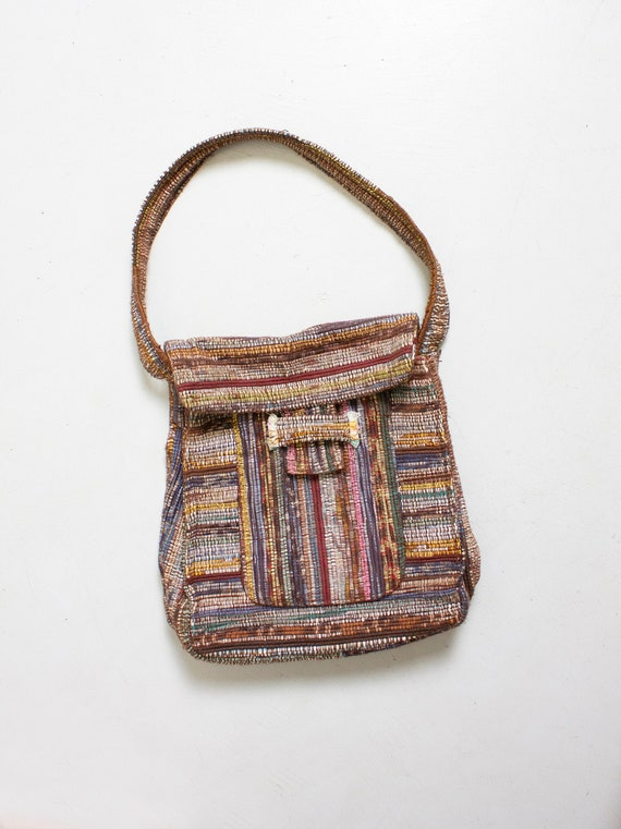 1970s Hand Loomed Shoulder Bag Woven Wool Boho Pur