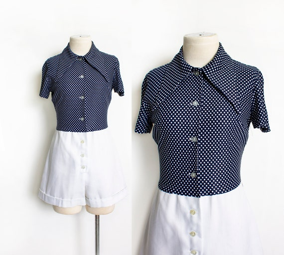 1970s ROMPER Polka Dot Shorts Jumpsuit Medium - image 1