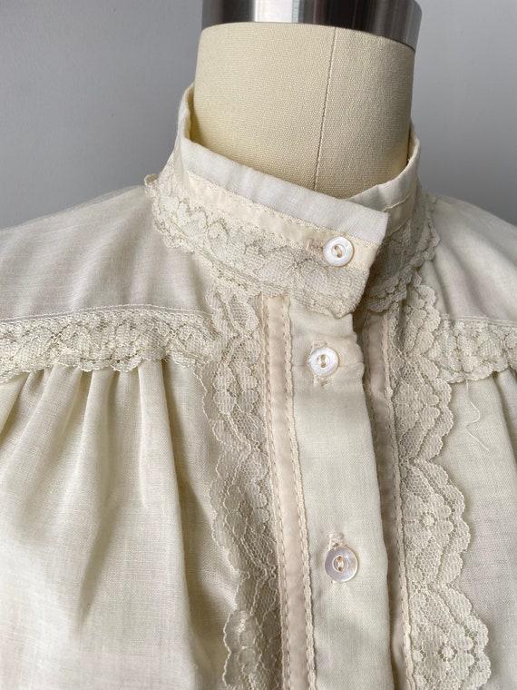 1970s Gunne Sax Blouse Cotton Lace Peasant Top S - image 5