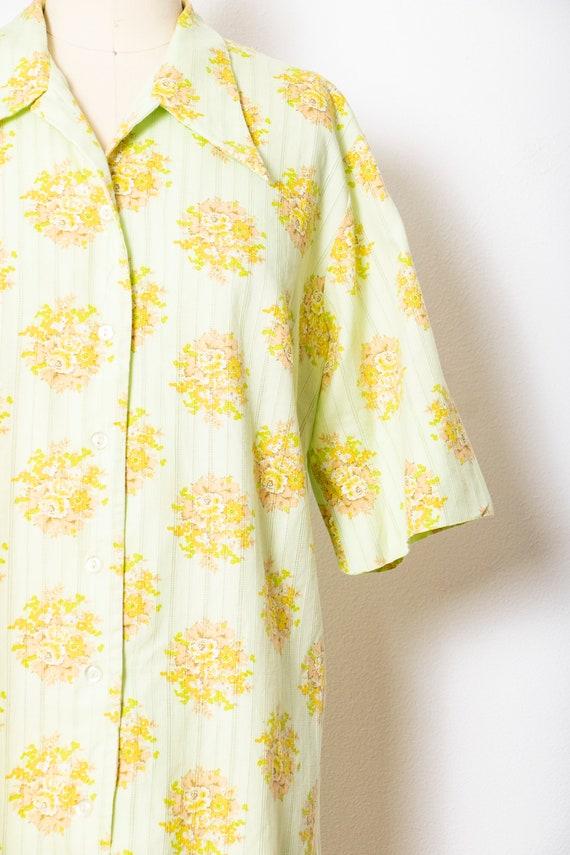 1970s Shirt Dress Green Floral Shift M - image 4