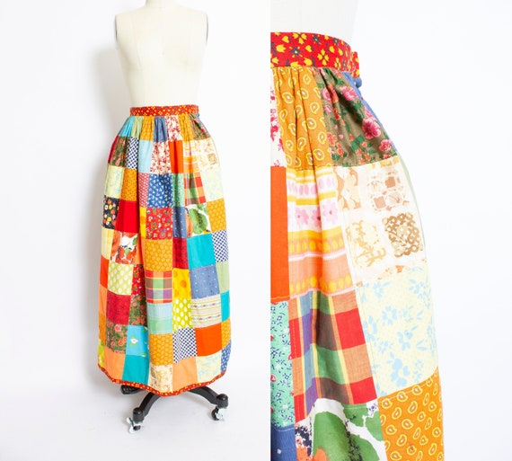 Vintage QUILTED Patchwork 1970s Maxi Skirt XS Extr