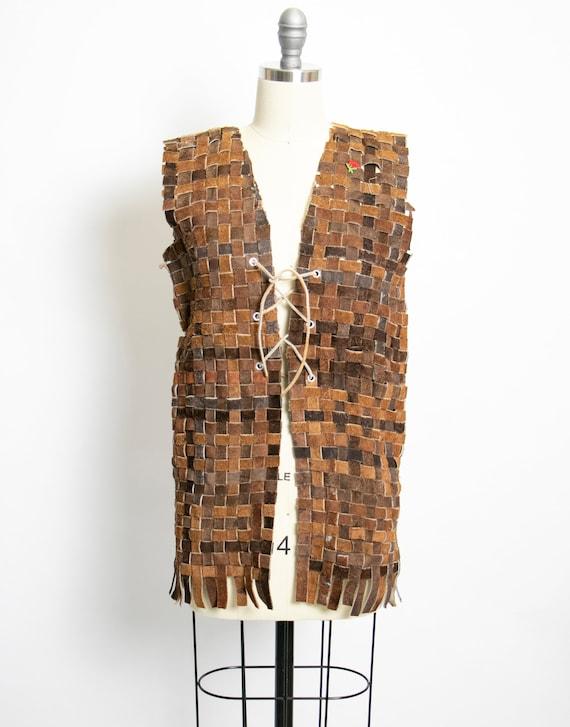1970s Vest Suede Lattice Weave Leather Corset Top