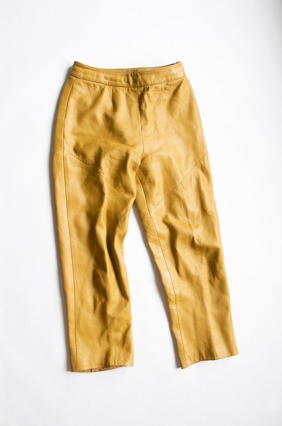 1960s BONNIE CASHIN  Leather Pants Taupe Cropped … - image 1