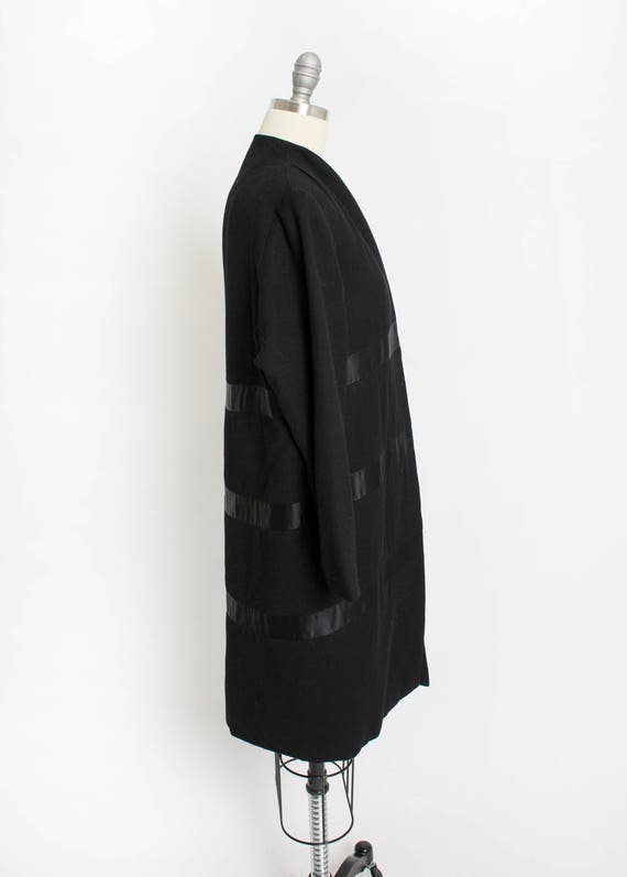 1950s Coat Satin Striped Black Wool Cashmere Small - image 4