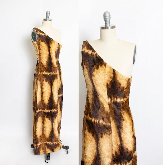 1960s Burlesque Costume Faux Fur Long Dress XS