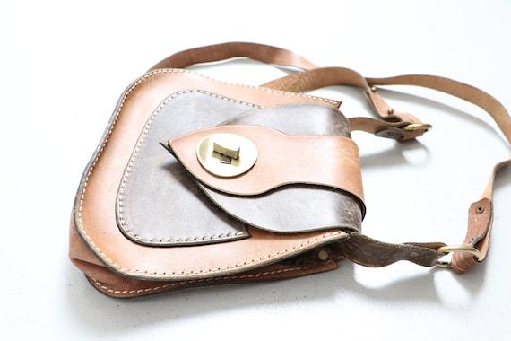 1970s Boho Purse Brown Leather Shoulder Bag - image 4