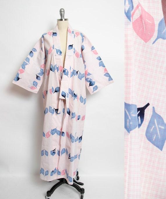 1980s Kimono Floral Printed Cotton Japanese Robe 8