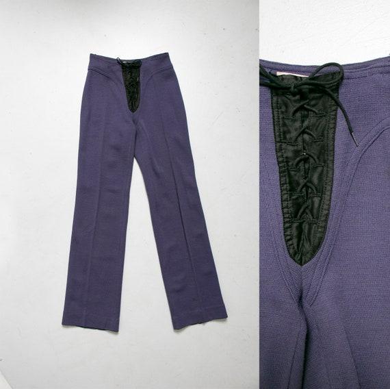 Vintage 1970s Alvin Duskin Pants Knit Tie Front XS