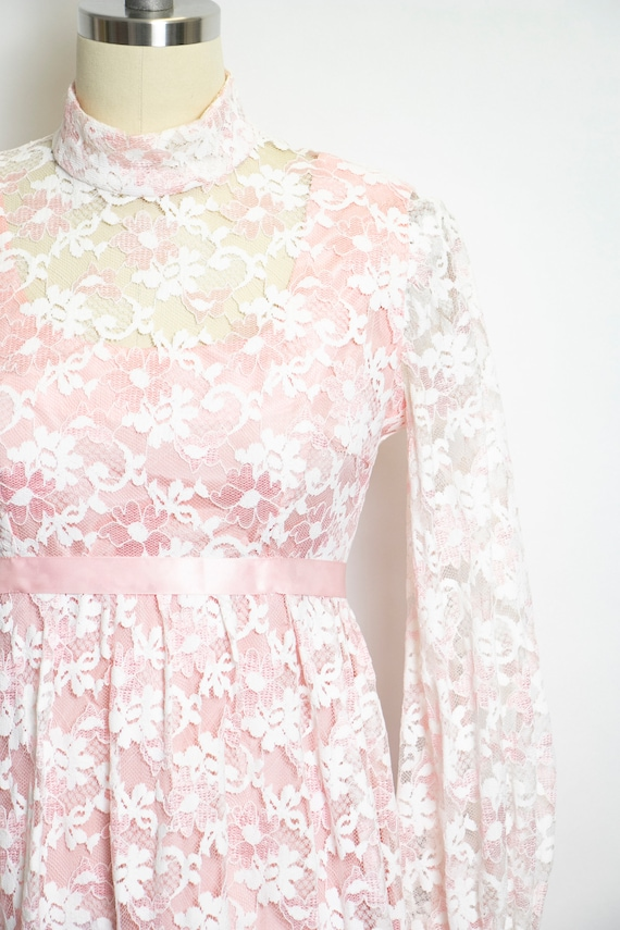 Vintage 1960s Dress Lace Pink Long Sleeve Maxi Go… - image 6