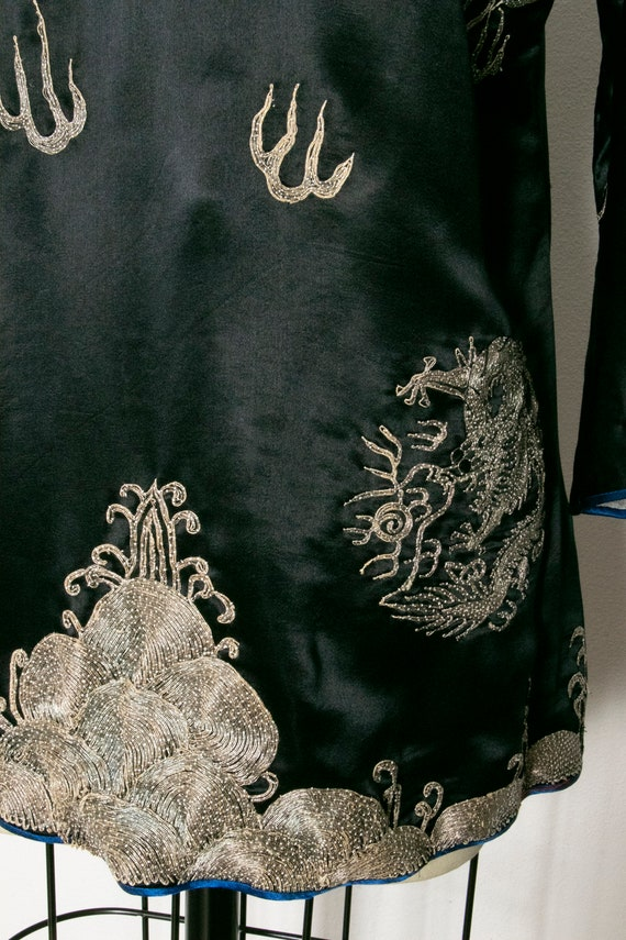 1950s Jacket Chinese Silk Embroidered Robe S - image 7