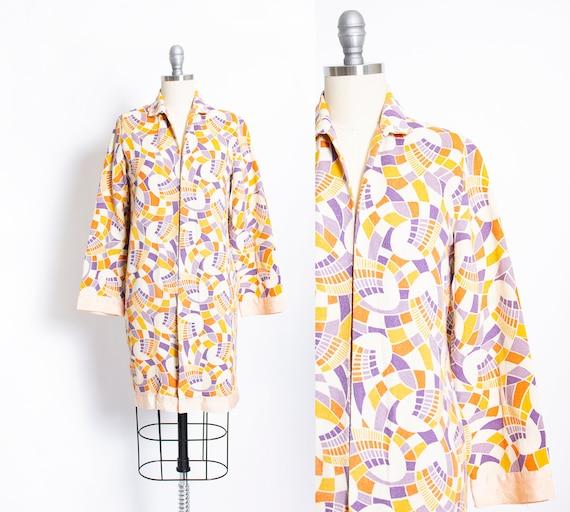 1920s Beach Jacket Linen Deco Print XS