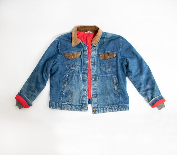 1980s Denim Jacket Quilted Red Jean Coat Corduroy