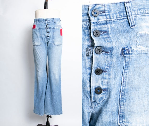 1970s Bell Bottom Jeans Distressed Patched Denim 3