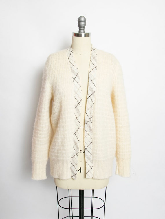 1970s Sweater Wool Knit Ivory Icelandic Cardigan M