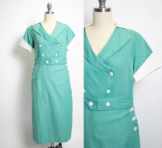 1930s Wrap Dress Mint Cotton Canvas Medium