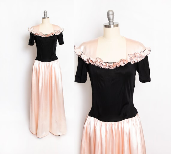1930s Dress Black Pink Satin Gown XS