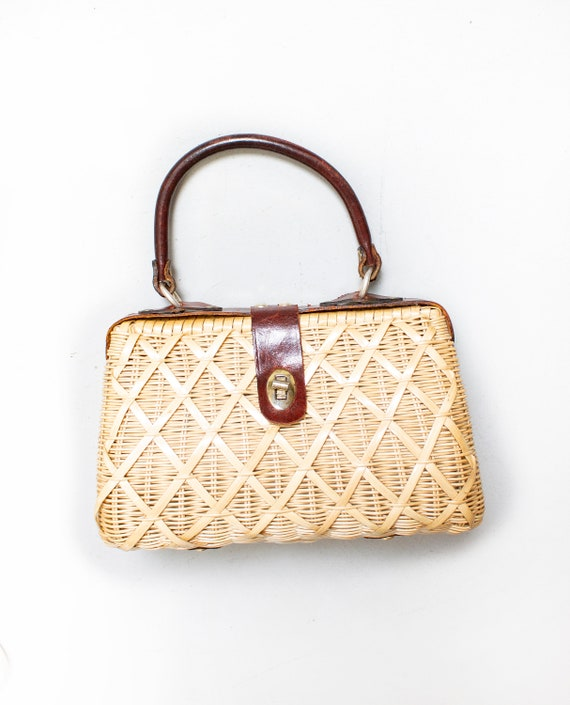 Vintage Basket Purse 1950s Woven Wicker Leather To