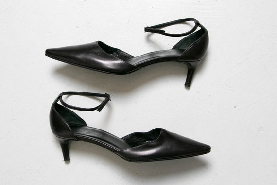GUCCI Kitten Heels Leather Ankle Straps 1990s Sz 3