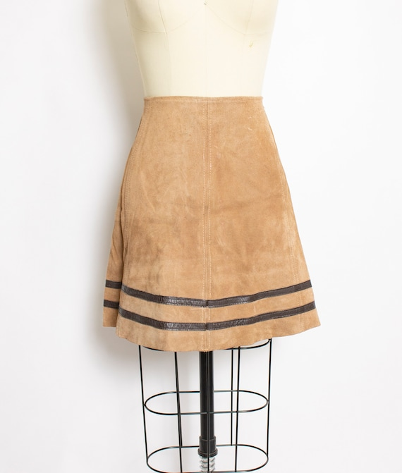 Vintage 1960s Skirt Brown Suede Striped Leather Mo