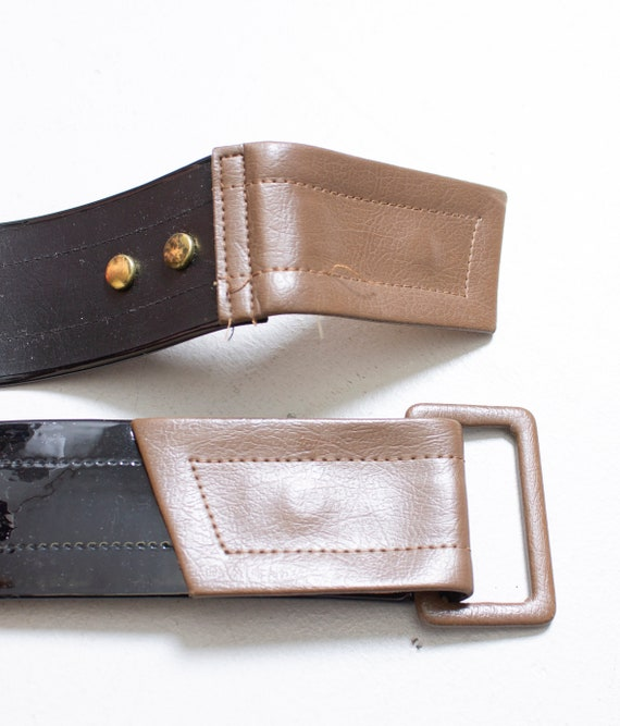 1960s Belt Patent Leather Waist Cinch Two Tone M - image 5