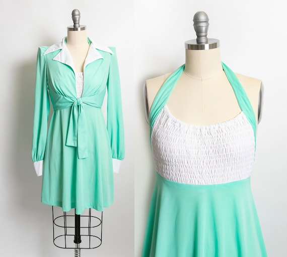 1970s Dress Young Innocent Mint Ensemble Set XS