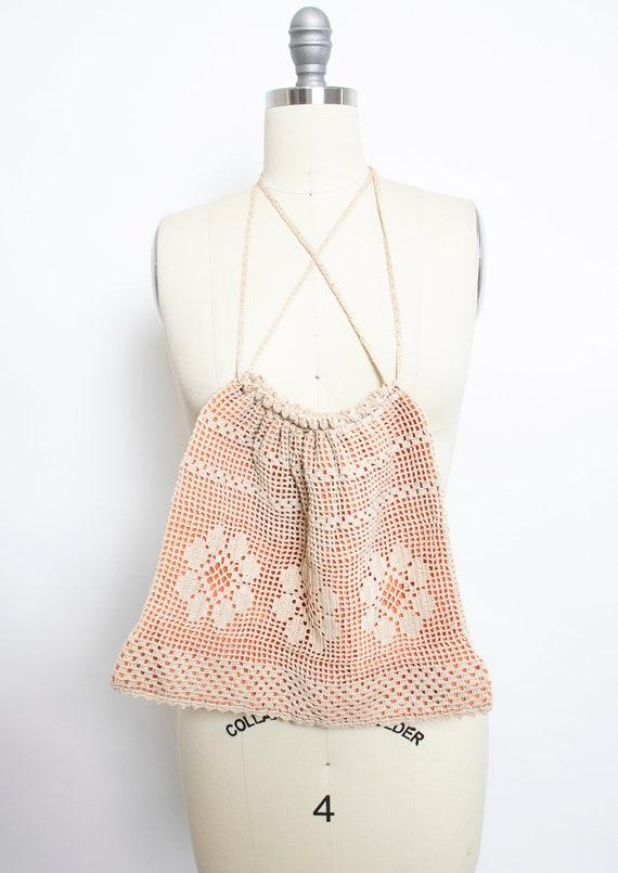 1940s Crochet Cotton Purse Drawstring Bag