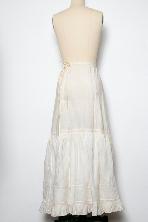 Victorian Antique Skirt Edwardian Cotton Embroide… - image 3
