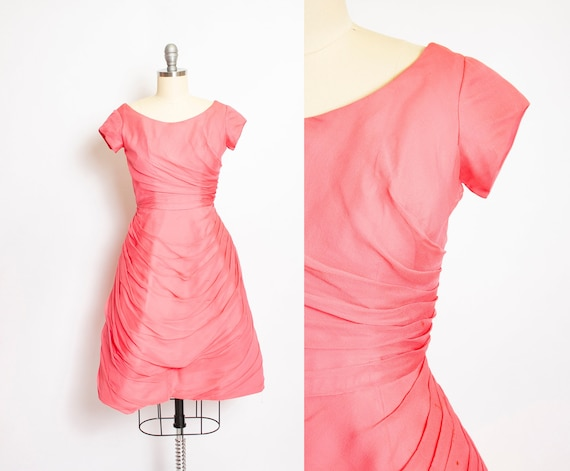 1960s Dress Pink Chiffon Ruched Full Skirt 50s XS