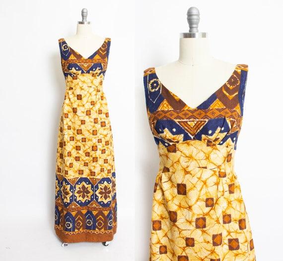 1960s Hawaiian Dress Printed Cotton Maxi Medium