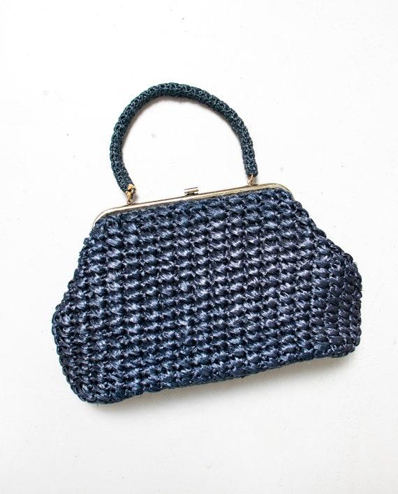 Vintage 1960s Purse Blue Woven Raffia Hand Bag 60s