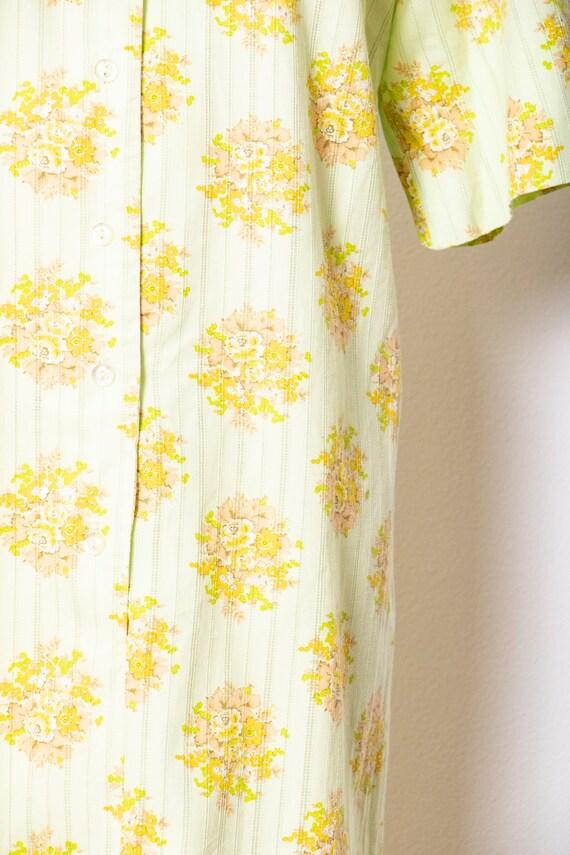 1970s Shirt Dress Green Floral Shift M - image 6