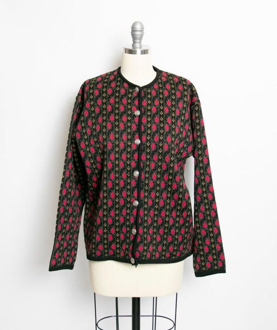 1950s Cardigan Sweater Bavarian Wool Knit 40s M