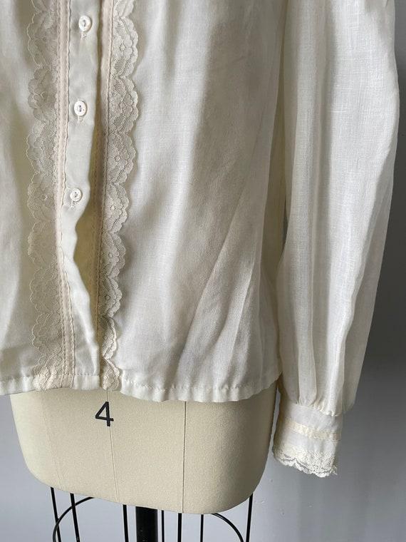 1970s Gunne Sax Blouse Cotton Lace Peasant Top S - image 6