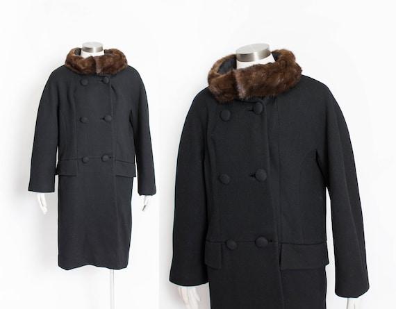 1960s Coat Wool Mink Fur Trim L / M