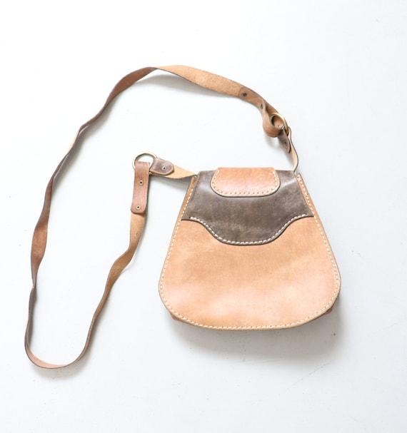 1970s Boho Purse Brown Leather Shoulder Bag - image 2