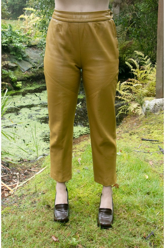 1960s BONNIE CASHIN  Leather Pants Taupe Cropped … - image 9