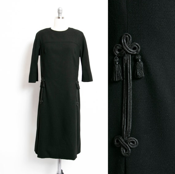 HARVEY BERIN 1960s Dress Black Wool Large - image 1