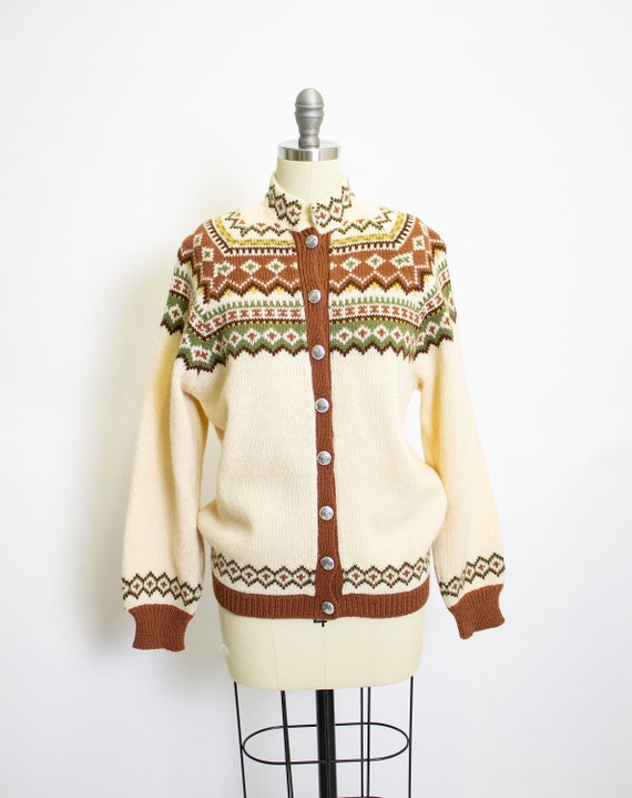 Vintage 1950s Norwegian Hand Knit Sweater Cardigan