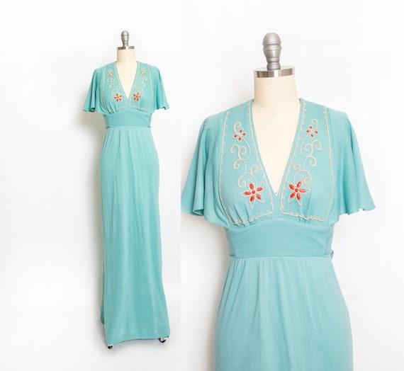 1970s Maxi Dress Young Innocent Sea Foam Blue Knit