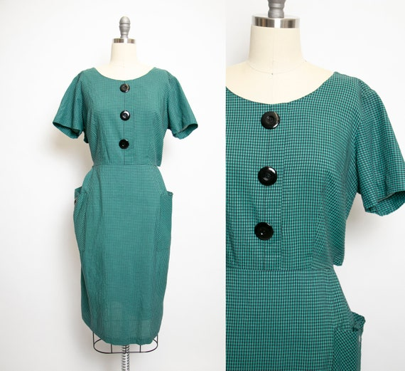 1950s Dress Cotton Teal wiggle Volup Extra Large