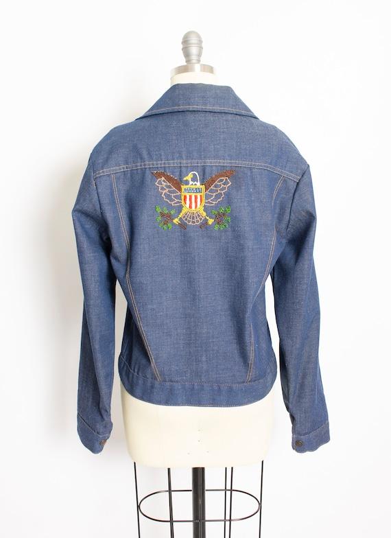 1970s Denim Jacket Embroidered Eagle Blue Lightwe… - image 3