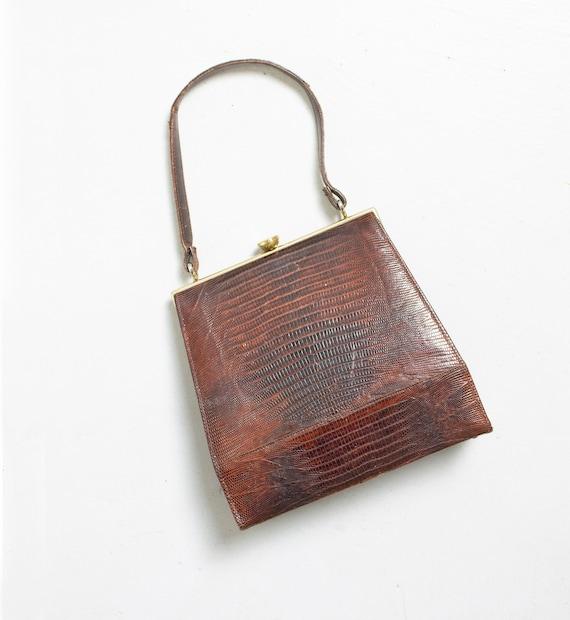 Vintage Brown Gator Purse Top Handle Bag 1960s