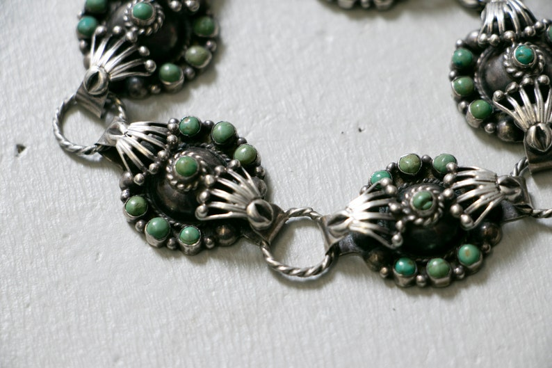 1930s Bracelet Sterling Taxco Wrought Turquoise Links